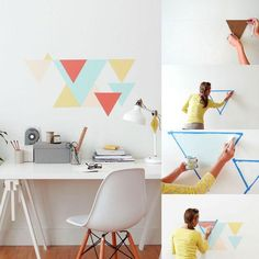 Wandgestaltung selber machen – geometrische Muster an die Wand streichen Making the wall design yourself – painting geometric patterns on the wall Bedroom Wall, Bedroom Decor, Wall Decor, Accent Wall Designs, Geometric Decor, Geometric Patterns, Inspiration Wall, Textured Walls, House Colors