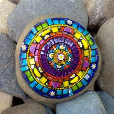 Mosaic Rocks Mandala Rock Spiritual Buddhism