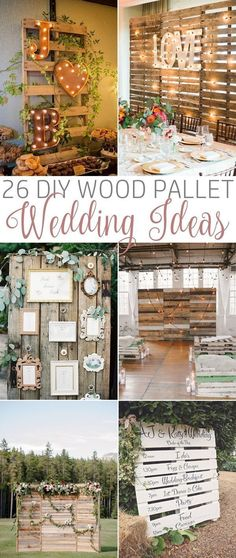 26 DIY Wood Pallet Wedding Ideas - Pallet wedding decor. #DIYwedding #palletwedding #weddingdecoration #weddingdecorationsdiy