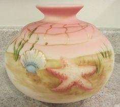"Fenton Glass 2011 Burmese Handpainted ""Ocean Floor"" Decoration Vase   eBay"