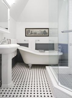 Interesting Edwardian Bathroom Design Ideas and Edwardian Bathroom Edwardian Bathroom White Tiles And Traditional Black White Bathrooms, White Bathroom Tiles, Bathroom Floor Tiles, Modern Bathroom, Black And White Bathroom Floor, Black Floor, Chic Bathrooms, Contemporary Bathrooms, Bead Board Bathroom