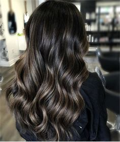 Long Wavy Ash-Brown Balayage - 20 Light Brown Hair Color Ideas for Your New Look - The Trending Hairstyle Brown Hair With Blonde Highlights, Brown Hair Balayage, Brown Ombre Hair, Light Brown Hair, Brown Hair Colors, Black Brown Hair, Hair Color For Black Hair, Black Highlighted Hair, Dark Caramel Highlights