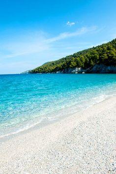 Kastani Beach on the charming Greek island of Skopelos Greece Skopelos Greece, Skiathos, Mykonos Greece, Crete Greece, Athens Greece, Beautiful Islands, Beautiful Beaches, Places To Travel, Places To See