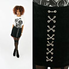 vintage 90s black SUEDE leather silver CHAIN mini skirt size S by PasseNouveauVintage, $36.00