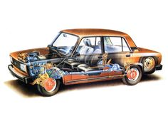 AVTOVAZ LADA 2107 schematic cutaway drawing - taken from the factory instruction manual Cutaway, Motor Car, Auto Motor, Motor Sport, Car Pictures, Line Drawing, Cool Cars, Automobile, Trucks