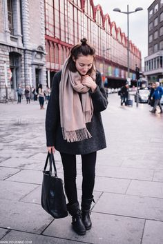Grey Coat + Camel Sweater + Black Skinnies + Boots.