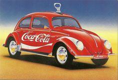 Coca Cola Beetle by mrsris, Coca Cola Poster, Coca Cola Ad, Always Coca Cola, Coca Cola History, World Of Coca Cola, Vw Vintage, Vintage Design, Coca Cola Decor, Vw T1