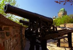 Quebec City - Fortification Wall Cannons & Chateau Frontenac Hotel by David Paul Ohmer
