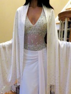 white warm wrap with silver sparkles Prod 7084 a best buy at Yours Elegantly - bridal wrap/evening wrap to cherish so gift one today.