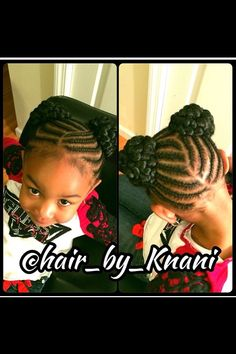Cornrows styled into two side buns on natural hair.