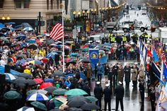 Pin for Later: 1 Year Later, Boston Remembers Those Lost in the Marathon Bombing  A huge group of people braved the rainy weather to attend the commemoration ceremony.