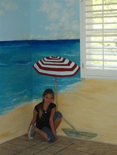 A Beach Mural is always great for a kids room - maybe this is how we can paint the walls of our safe spot