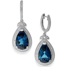 London Blue Topaz (10-1/4 ct. t.w.) and Diamond (1/10 ct. t.w.) Hoop... (93.915 HUF) ❤ liked on Polyvore