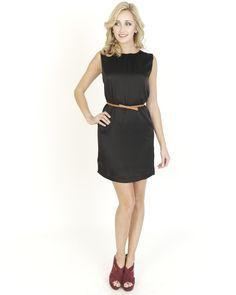 Black Dresses - Belted Satin Party Black Dress - http://www.blackdresses.co.uk