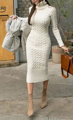Winter Dress Outfits, Winter Fashion Outfits, Fashion Dresses, Dresses For Winter, Crochet Winter Dresses, White Dress Winter, Fashion Tips, Cute Casual Outfits, Chic Outfits