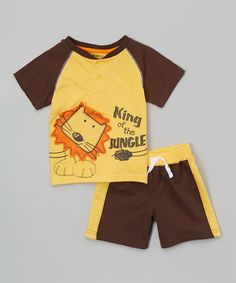 Look what I found on #zulily! Yellow 'King Of The Jungle' Tee & Shorts - Infant & Toddler #zulilyfinds