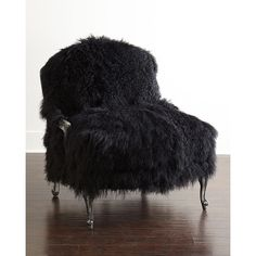 Old Hickory Tannery Worthen Noir Sheepskin Chair ($4,999) ❤ liked on Polyvore featuring home, furniture, chairs, accent chairs, old hickory tannery, nailhead furniture, black armchair, black chair and nailhead chair