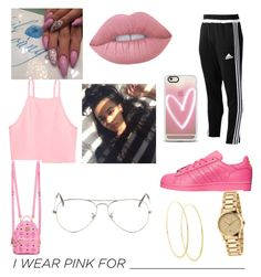 """""""Pink😜💉💪🏾"""" by dakiddnesha on Polyvore featuring Casetify, Lime Crime, MCM, Ray-Ban, adidas, Gucci, Lana and IWearPinkFor"""