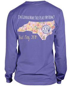 This is adorable. I like the North Carolina cut-out. The monogram would have to be moved, and read Phi Mu.