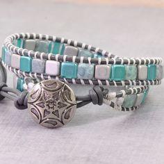 Teal Wrap Bracelet Gray Leather Wrap Bohemian Jewelry Tila Bead Boho Bracelet Light Blue Double Wrap Bracelet Spring Jewelry Boho Chic by AbacusBeadCreations on Etsy https://www.etsy.com/listing/271639586/teal-wrap-bracelet-gray-leather-wrap