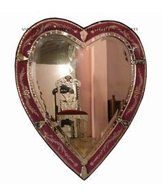 Venetian mirror heart pink