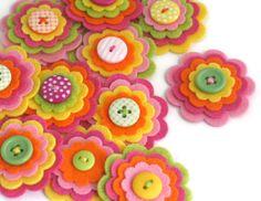 TUTTI FRUITTI x 3 Felt Flower Embellishments, Felties, Handmade Flowers, Felt…