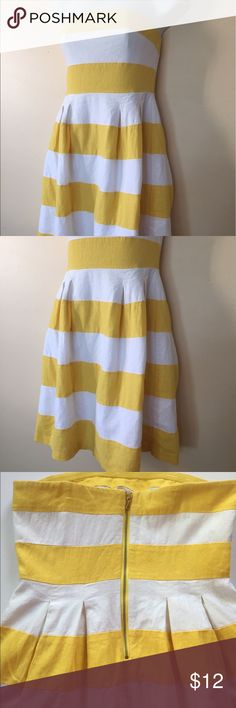 🌷:LOFT: Yellow and White Dress🌷 Adorable yellow and white stripped dress, linen blend with pleats in front and back. Gold zipped back, abs top clasp. Good used condition! Dress also had wore inserts to assist with staying in place. LOFT Dresses