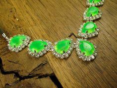 Tropical Green Teardrop Small Crystal Bib on by rockspapermetal