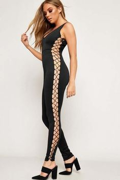 aace75799efb Adalyn Lace Up Eyelet Side Sleeveless Jumpsuit