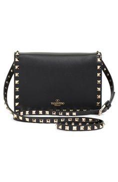 'Rockstud' Calfskin Leather Shoulder Bag