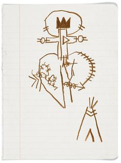 "A sketch, with his signature crown and halo, from 1980-81. Jean-Michel Basquiat, ""Untitled Notebook Page,"" 1980-81. Brooklyn Museum."