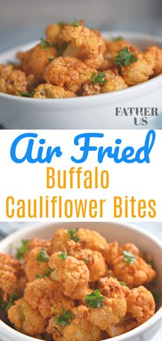 These Air Fryer Buffalo Cauliflower Bites are the perfect thing for a healthy game day snack. They are packed full of flavor but aren't too filling. So you can eat them well into the quarter. This is has become one of my favorite Air Fryer recipes. Air Fryer Oven Recipes, Air Frier Recipes, Air Fryer Dinner Recipes, Air Fryer Recipes Appetizers, Air Fryer Recipes Vegetarian, Party Appetizers, Air Fryer Recipes Cauliflower, Califlower Recipes, Buffalo Cauliflower Bites