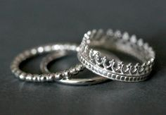 Queen's Crown sterling silver stack ring Gift under by Eklektisch, $30.00