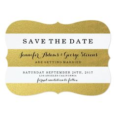 CHIC GOLD STRIPES SAVE THE DATE CARD