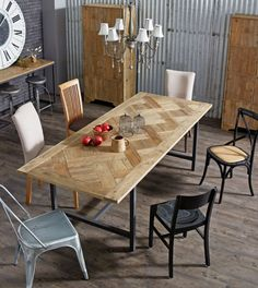 'Parquet' Recycled Timber Dining Table. Neutral colour scheme
