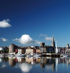 A sunny summers day in Waterford City. This picture is of the North Wharf with reginalds tower on the left handside.