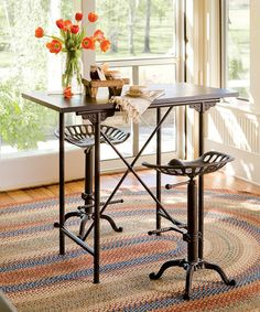 Look what I found on #zulily! Brown Vintage Bar Table & Tractor Stool Set #zulilyfinds
