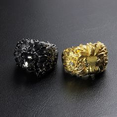 Deific Flora Lion Rings in gold and black rhodium. Which one do you prefer? Oxidized sterling silver version at https://www.deificjewelry.com/collections/kingdom/products/lion-flora-ring
