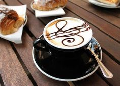 Would you like some music with that latte? Nothing like staff and treble clef chocolate latte Coffee Latte Art, I Love Coffee, Coffee Cafe, Coffee Break, My Coffee, Coffee Drinks, Coffee Shop, Morning Coffee, Coffee Theme
