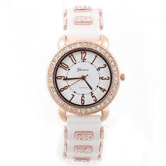 [$6.99] Rhinestones Arabic Numerals Black Silicone Band Quartz Wrist Watch Women