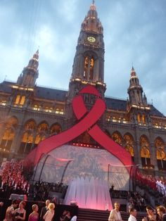 The massive AIDS ribbon on the building that hosted the Life Ball just prior to the opening of the International AIDS Conference in Vienna, Austria in Summer