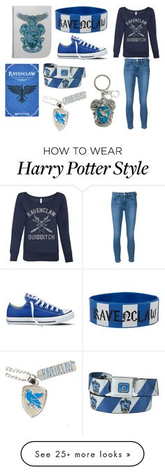"""Ravenclaw"" by tracybet on Polyvore featuring Frame Denim and Converse"
