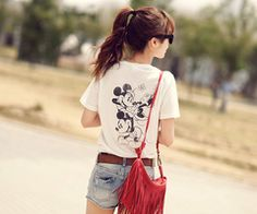 graphic-t belted shorts and a cute bag. lazy sunday outfit.