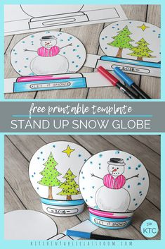 Make a Snowglobe- Print & Draw Stand-up Template This fun snow globe craft starts with a free printable snow globe template. Print, draw, and create your own stand up snow globe wonderland! Holiday Crafts, Holiday Fun, Fun Crafts, Easter Crafts, Snow Globe Crafts, Snow Crafts, Winter Crafts For Kids, Theme Noel, Mason Jar Crafts