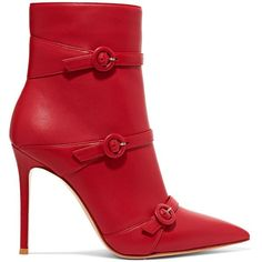 Gianvito Rossi Robin 100 buckled leather ankle boots (34.725 RUB) ❤ liked on Polyvore featuring shoes, boots, ankle booties, booties, heels, footwear, round booties, leather ankle booties, red ankle boots and red leather boots