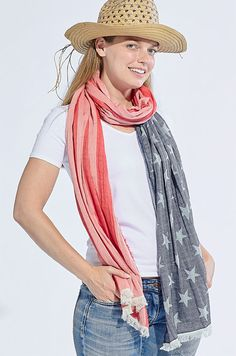 American Flag Scarf by Tickled Pink American Flag Scarf, Plaid Scarf, Red, Pink, Blue, Fashion, Moda, Fashion Styles, Hot Pink