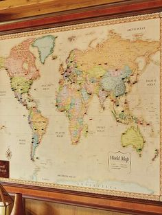 World magnetic travel map with antique white frame travel maps magnetic travel maps gumiabroncs Images