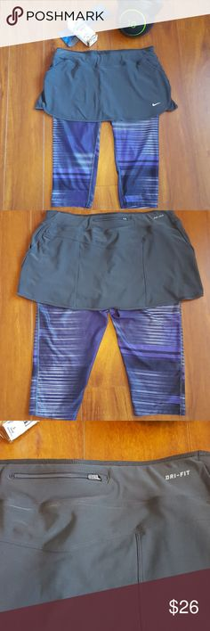 Nike Skirted Capri Leggings Nike Dri-Fit capris with skirt overlay. Excellent condition.  Perfect for workouts or tennis.  Only worn once or twice.  It features Dri-Fit technology, both side pockets, back ID pocket, draw strings.   No Trades. Nike Pants Capris