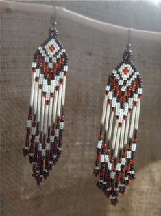Porcupine quills earrings. Beaded with by CreationSecondeNatur