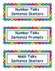"""Here are a number of sentence starters inspired by the book Number Talks: Helping Children Build Mental Math and Computation Strategies by Sherry Parrish. I have included a few different title cards for display based on what you may call your number talks (we call them """"Math Talks"""" in my class!)."""